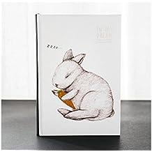 JxucTo Creativo Cuaderno de dibujos animados creativos Cuaderno personal Cuadernos y diarios escolares de tapa dura (Conejo)