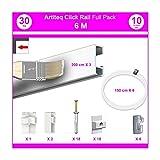 NEWLY Pack Eco 6 m : cimaise Click Rail - Blanc (Peut être Peint) - 8,5 mm