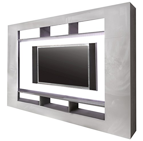 trendteam SD89535 Wohnwand TV Möbel weiss Hochglanz, Beton Industry Nachbildung, BxHxT 216x160x30 cm