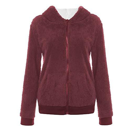 BHYDRY Frauen Plus Größe beiläufige Tasche mit Kapuze Parka Outwear Strickjacke Mantel(EU-38/CN-M,Wine Red)