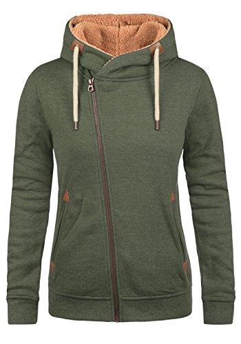 DESIRES Vicky Pile Zip Hood Damen Sweatjacke Kapuzen-Jacke Zip-Hoodie aus hochwertiger Baumwollmischung Meliert, Größe:XS, Farbe:CLI IV PL (P8785)