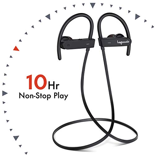 ActionLoop by LoopAudio [10 Hour Battery][100% Splash & Sweat Proof] 4.2 Bluetooth Wireless Earphones with Mic & Carry Case (Black)