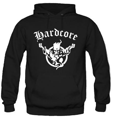 Hardcore sweat à capuche/hardstyle/techno/electro/m1 - Noir - Large