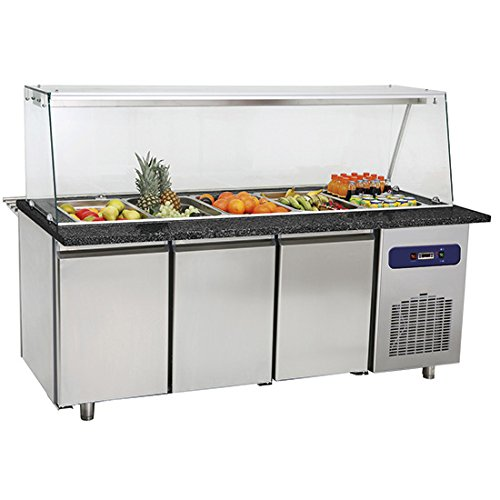 Banco di preparazione refrigerato struttura in vetro e vasca 5x GN 1/1 h=100 mm