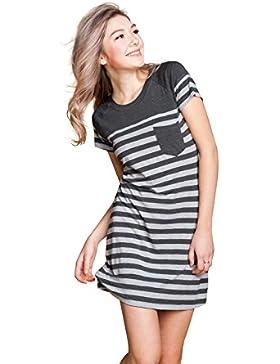Suntasty Damen Nachthemd kurz Negligee Kleid Gestreiftes Sleepshirt mit Brusttasche Viskose Nachtwäsche