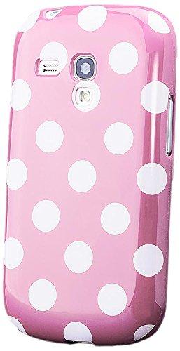 iCues Schutzhülle für Samsung Galaxy S3 MINI   Polka Dots TPU Case Rosa   [Display Schutzfolie Inklusive] Damen Frauen Mädchen Silikon Gel Motiv Muster Hülle Cover Schutz