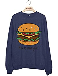 Batch1 Nice To Meat You Fast Food Restaurant Novelty Slogan Womens Sweatshirt