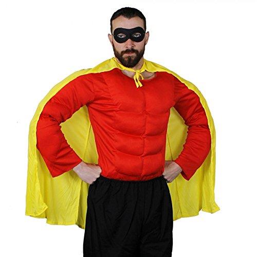 ILOVEFANCYDRESS SUPER Hero =Robin Set BEINHALTET EINE GELBES Hero Cape + EINEN Schwarze Augen Maske + EIN ROTES GEPOLSTERTES Muskel Shirt IN DER GRÖSSE - Flash Muskel Für Erwachsene Kostüm