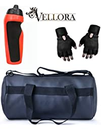 VELLORA Soft Leather Duffel Gym Bag (Black) With Penguin Sport Sipper, Gym Sipper Water Bottle Color Black Red...