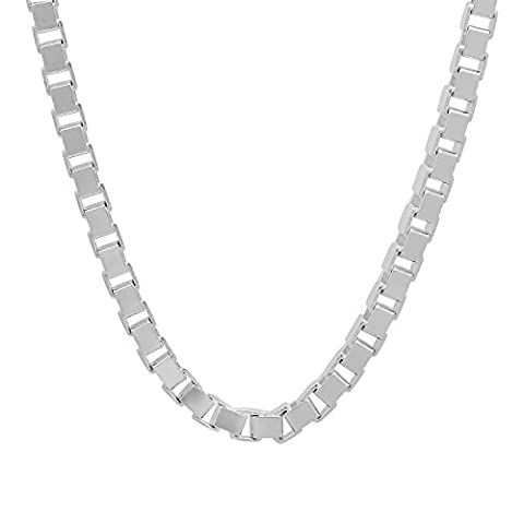 4.5mm Solid 925 Sterling Silver Squared Box Link Italian Crafted Chain, 61 cm