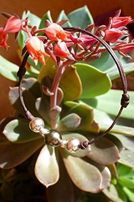 Perle de Tahiti, argent sterling sur cuir australien - Bracelet adaptable femme