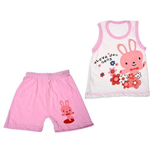 SODIAL(R) Ensemble de vetements pour les bebes, T-shirt Sans manches + Pantalon courtes - Rose Lapin, 2T 80cm