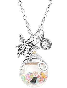 Damen Vintage Kette Glas Anhänger mit Elfe Amulett Silber Farbe