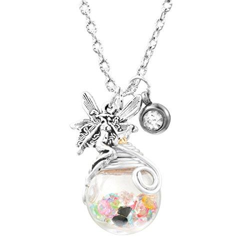 Damen Mädchen Glück Kette Halskette Wünschen Wish Glasflasche Anhänger mit Elfe Farbig Silber Farbe