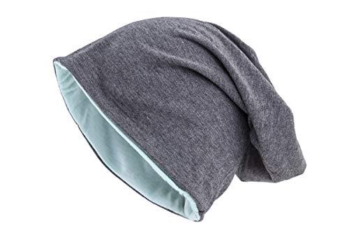 shenky - Gorro caído - Ideal para la pérdida de Cabello y Durante un Tratamiento - Gorro Reversible Gris/Verde Menta