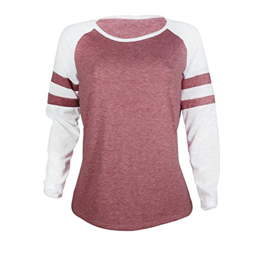 Buimin Fashion Women Hit Color Mosaic Round Neck Long-Sleeved T-Shirt (Red, S)