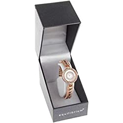 Ladies Diamante Rose Gold Tone Crystal Slim Bracelet Watch