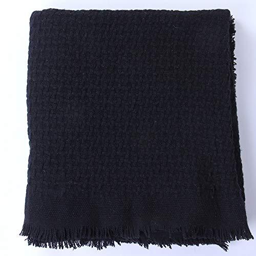 Reiner Wollschal Reiner Wolle Warme Decke Wintermode Pure Kaschmir Wolle Classic Lange Schal Decke,Black -