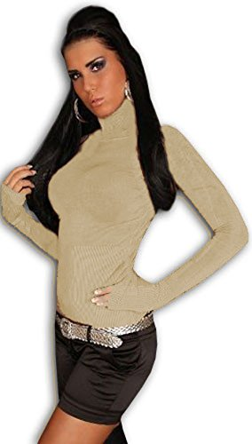 In Style Damen Pullover langärmelig mit Rollkragen Beige