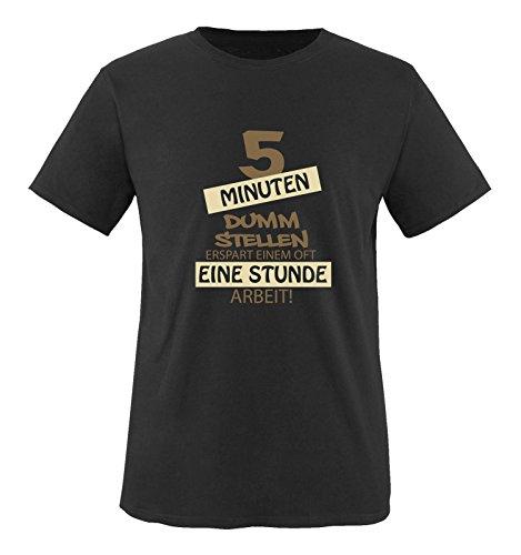 Comedy Shirts - Fünf Minuten dumm Stellen erspart Einem oft eine Stunde Arbeit! - Herren T-Shirt - Schwarz/Hellbraun-Beige Gr. M