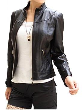 EXEMPLAR LL885 Chaqueta de piel para mujer, piel de cordero, Negro