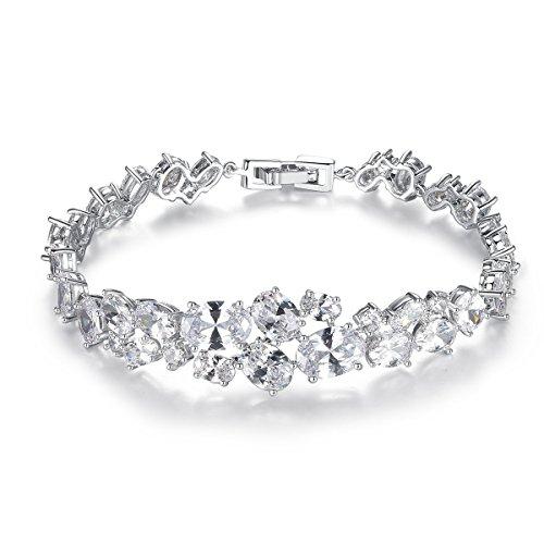 QUKE Glitzer CZ Silber-Ton Zirkonia Kristall Kleid Armband Braut Hochzeit Armbänder Damen Modeschmuck