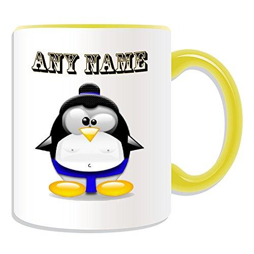 Personalisiertes Geschenk-Sumo schwarz Gürtel Tasse (Design Pinguin