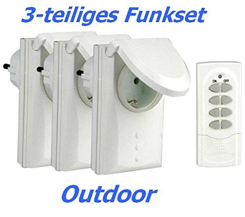 Gartenset 3x Funkschalter-Zwischenstecker DGR-3600 mit Deckel Outdoor und Fernbedienung für 4 Empfänger