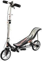 Space Scooter X580, Schwarz, Tretroller mit Schwungrad, per Luftdruckdämpfer Angetriebener Roller mit Bremsen, Luftfederung, Einfache Faltbarkeit, für Kinder ab 8 Jahren