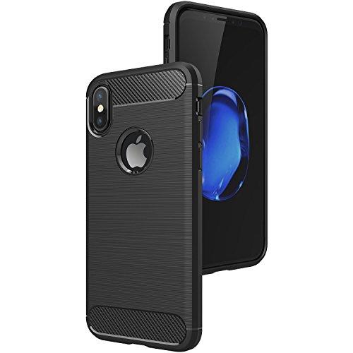 Apple iPhone X Schutzhülle, MillSO iPhone X Allround Hanyhülle (Kamera Objektivschutz, Anti-Kratzer, Anti-Fingerabdruck) Kohlefaser Back Shell für iPhone 10 - Schwarz