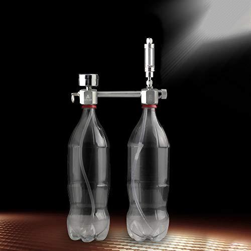 Weehey 2L Acuario CO2 Generador Sistema Kit CO2 Cilindro de Aleación de Aluminio Sistema con Válvula Solenoide Burbuja Difusor Difusor Decarbono Reactor Kit para Plantas Acuario