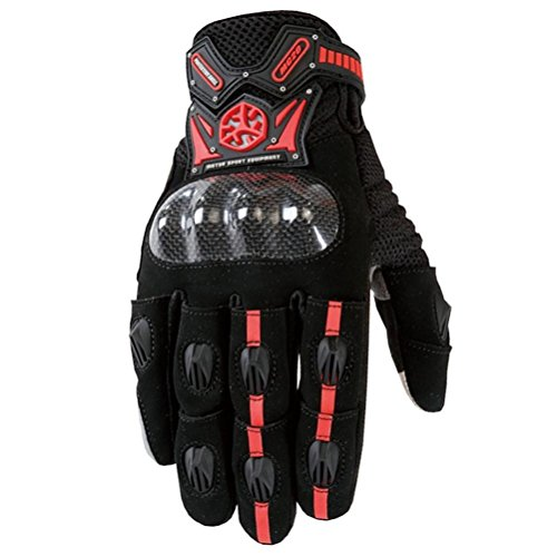 Outdoor Guanti dita piene ciclismo moto Powersports maschile Racing Gloves(M,L,XL) , red , (Guanti Moto Meteo Pelle)