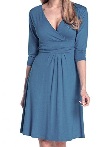 Glamour Empire Donna Abito a Manica 3/4 Estivo Vestito Molto Femminile 282 Blu jeans