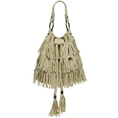 CASPAR TL677 Damen Wildleder Fransen Tasche / Beutel, Farbe:beige