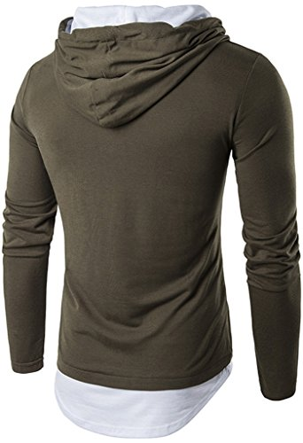 Whatlees Herren Urban Basic reguläre Passform lang arm Langes T-shirt mit Kapuzer aus weiches Jersey B417-ArmyGreen