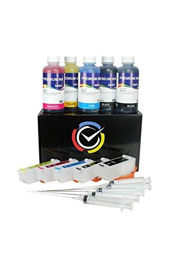 Cartucce Ricaricabili serie T2621 / T2634 con 500ml inchiostro di altà qualità Inktec per stampanti Expression Premium XP-510, XP-600, XP605, XP-610