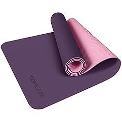 TOPLUS Esterilla Yoga Antideslizante Alfombrilla de Yoga Esterilla Pilates Esterilla Deporte- con Correa de Hombro 183cm x 61cm (Violeta)