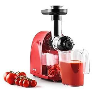 Klarstein Slowjuicer Centrifugeuse pour jus de fruit frais vitaminés (150W de puissance, 80 tours/min, 2 récipients, fonctionnement discret) - rouge