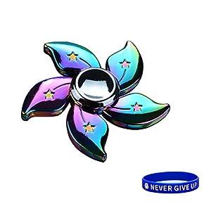 SWAMPLAND Tri-Spinner Fidget Spielzeug Stress Reducer - ideal für Zeit totschlagen Spielzeug Erwachsene Kinder (Aluminium Fünf Blattblumen)