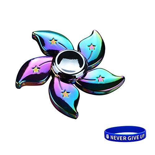 Preisvergleich Produktbild SWAMPLAND Tri-Spinner Fidget Spielzeug Stress Reducer - ideal für Zeit totschlagen Spielzeug Erwachsene Kinder (Aluminium Fünf Blattblumen)