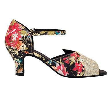 XIAMUO Pailletten Blumen Frauen Ballroom Dance Schuhe Satin/Paillette Latin/Salsa Sandalen angepasste Ferse Professional schwarz/rot