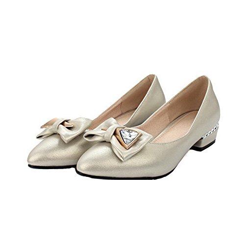 VogueZone009 Femme Tire Pu Cuir Pointu à Talon Bas Mosaïque Chaussures Légeres Beige