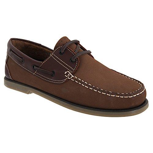 Homens Dek Mocassim Sapatos De Barco Nobuk Marrom / Couro