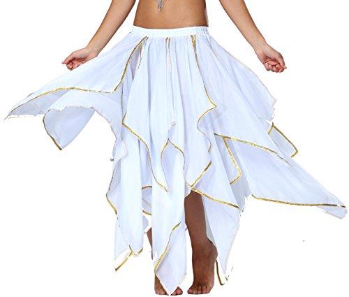 Kinder Mädchen Zigeuner Kostüm - Chiffon Bauchtanz Rock Orientalische Kostüme Damen Seitennaht Glänzende Kante, 13 panel-Weiß, 32/34/36/38/40/42