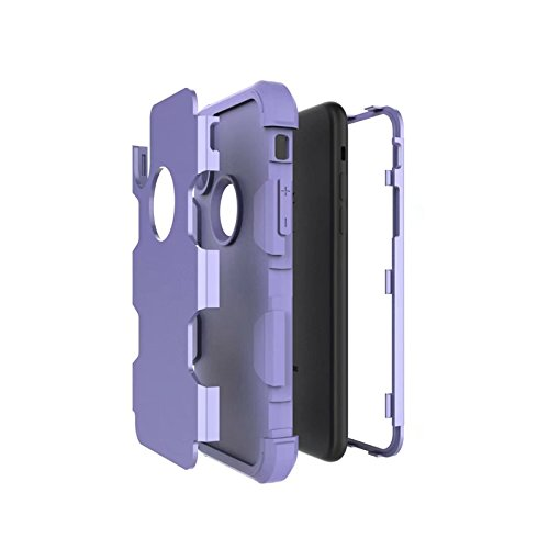 YHUISEN iPhone X Fall, Stoßdämpfung Drei-Schicht-Rüstung Defender [Heavy Duty] Robuste Hybrid Schutzhülle für iPhone X (2017) ( Color : Gray Orange ) Purple