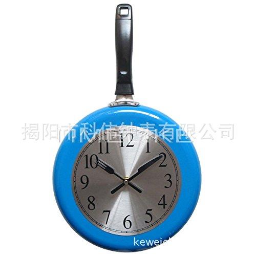 AGECC Einfach zu Lesen hängende Wanduhr Indoor Mode Kreative Uhr 10 Zoll Uhr Zifferblatt Edelstahl Pan Metall Clock blau
