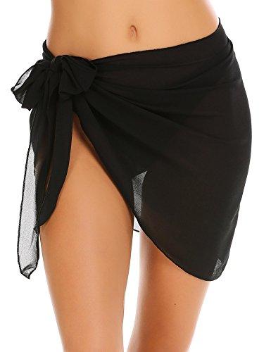 Aimage Womens Summer Beach Chiffon Swimsuit Wrap Short Dress Skirt Mesh Cover up Sarong S-XXL