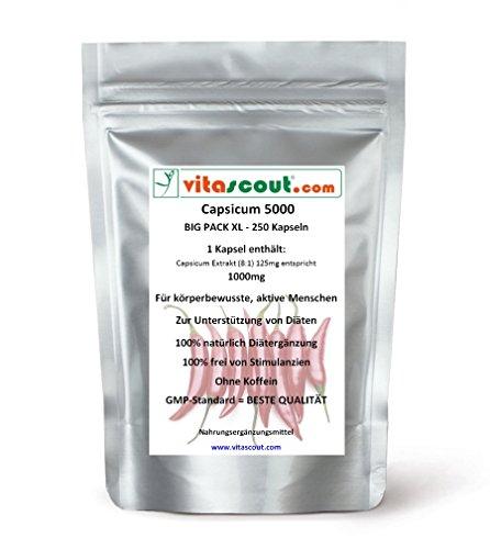 250 Kapseln Capsicum 5000 Diät Chili Fatburner Bauch Beine Po abnehmen – Thermogenese