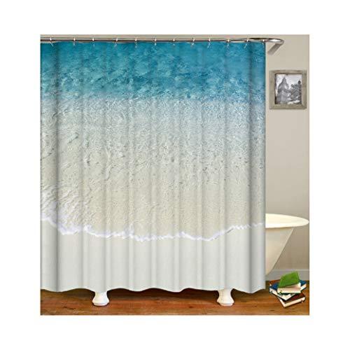 ANAZOZ Duschvorhang Wasserdicht Anti-Bakteriell Anti-Schimmel Badezimmer Vorhänge Waschbar Polyester Meer Strand Bad Vorhang für Badezimmer Badewanne Blau 165X180CM A7025 -