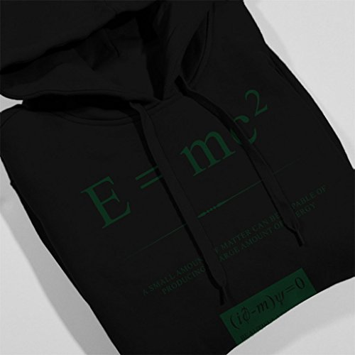 Beautiful Equations A Small Amount Of Matter A Large Amount Of Energy Green Text Women's Hooded Sweatshirt Black